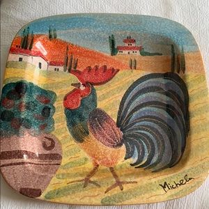 Hand painted Italian Rooster Platter